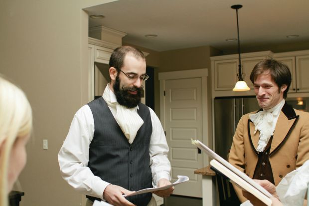 """""""My brother-in-law as Mr. Bingley; My  boyfriend as Mr. Darcy as he tries to keep a straight face."""""""