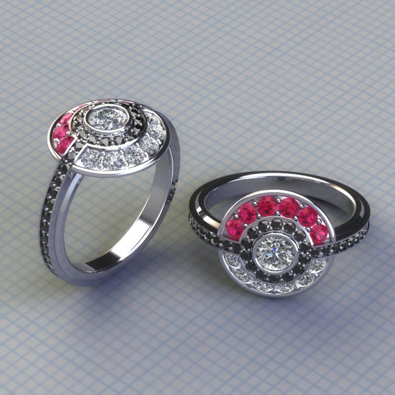 Poke Engagement Ring with Real Gems