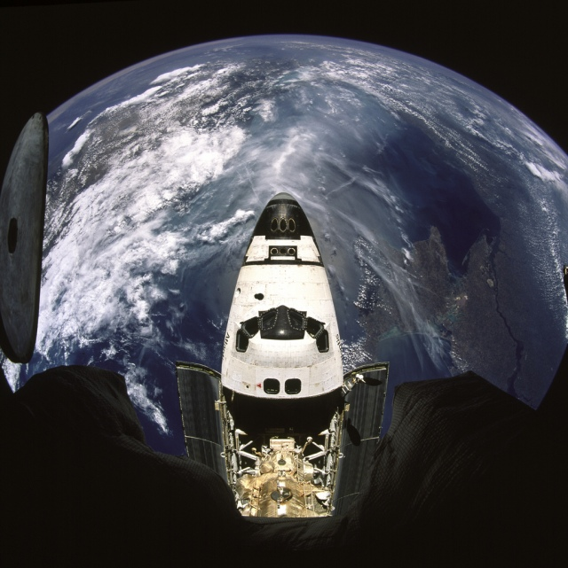 Beautiful Earth and NASA's Space Shuttle Atlantis (STS-71), July 2, 1995 at 11:40:12 GMT As Seen From the Russian Federation Mir Space Station