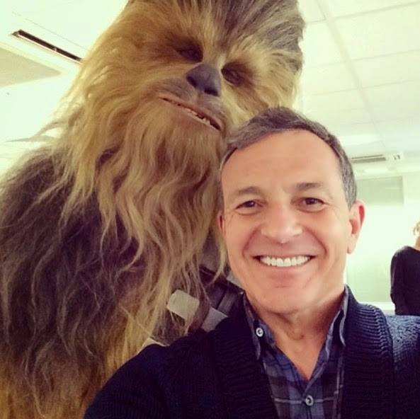 First look at Chewbacca for STAR WARS_EPISODE VII with Bob Iger at Pinewood Studios