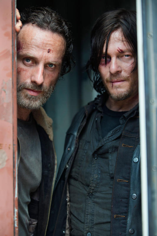 Andrew Lincoln as Rick Grimes and Norman Reedus as Daryl Dixon - Photo Credit: Frank Ockenfels 3/AMC