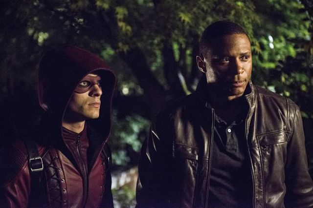 "Arrow -- ""The Magician"" Pictured (L-R): Colton Haynes as Arsenal and David Ramsey as John Diggle -- Photo: Cate Cameron/The CW -- © 2014 The CW Network, LLC. All Rights Reserved."