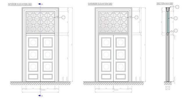 Museum door – construction drawings.