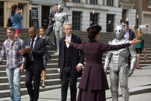 Picture shows: Cyberman, PETER CAPALDI as The Doctor, MICHELLE GOMEZ as Missy