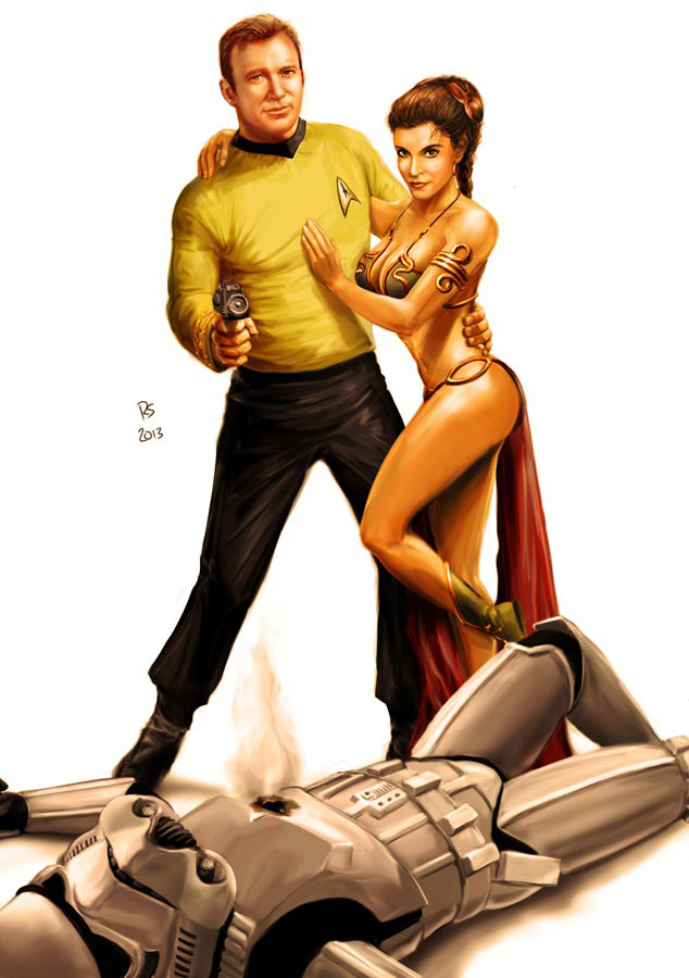 star_wars_meets_star_trek___kirk_and_leia_by_rhymesyndicate-d5ta8nw