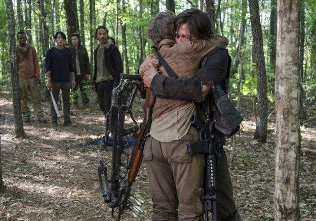 Carol Peletier (Melissa McBridge) and Daryl Dixon (Norman Reedus) in Episode 1 Photo by Gene Page/AMC