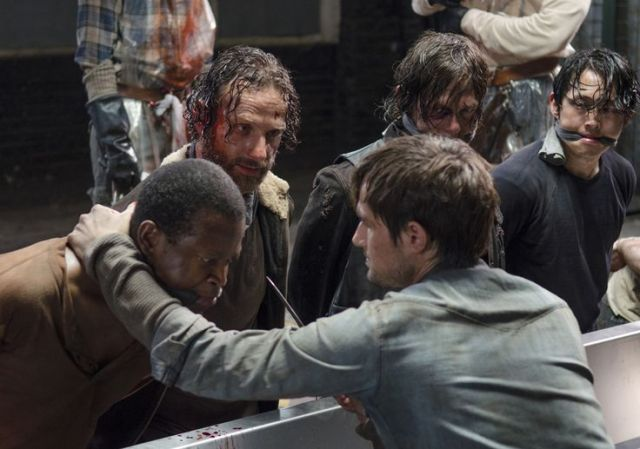 Bob Stookey (Lawrence Gilliard Jr.), Gareth (Andrew J. West), Rick Grimes (Andrew Lincoln), Daryl Dixon (Norman Reedus) and Glenn Rhee (Steven Yeun) in Episode 1 Photo by Gene Page/AMC