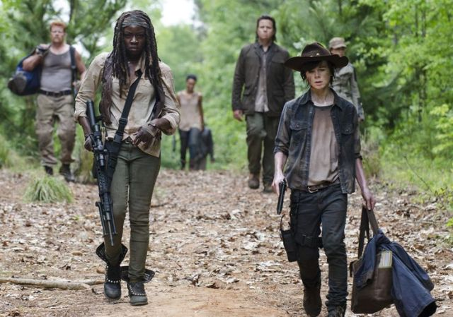 Michonne (Danai Gurira) and Carl Grimes (Chandler Riggs) in Episode 2 Photo by Gene Page/AMC