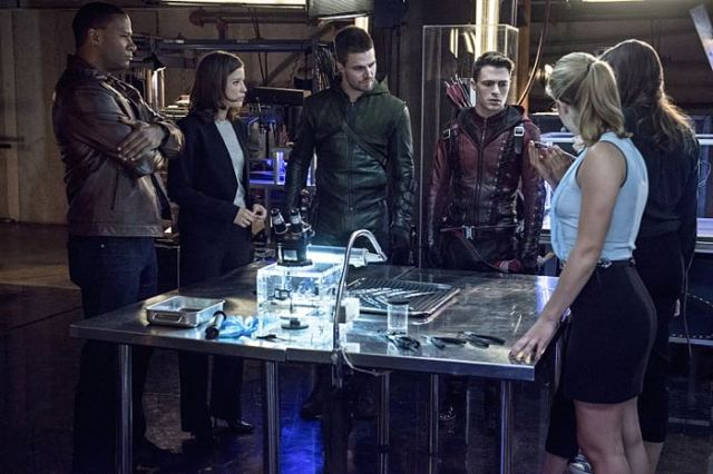 "Arrow -- ""The Brave and the Bold"" Pictured (L-R): David Ramsey as John Diggle, Audrey Marie Anderson as Lyla Michaels,  Stephen Amell as Olliver Queen/The Arrow, and Colton Haynes as Roy Harper / Arsenal -- Photo: Cate Cameron/The CW -- © 2014 The CW Network, LLC. All Rights Reserved."