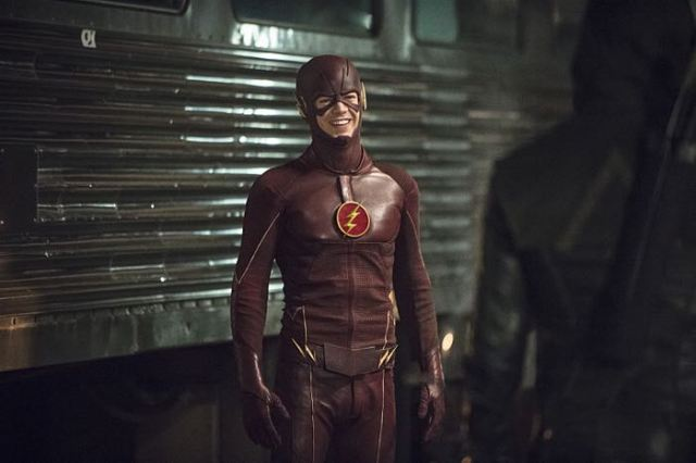 "Arrow -- ""The Brave and the Bold"" Pictured (L-R): Behind the scenes with Grant Gustin as The Flash -- Photo: Cate Cameron/The CW -- © 2014 The CW Network, LLC. All Rights Reserved."