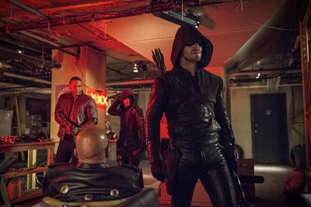 "Arrow -- ""The Brave and the Bold"" Pictured (L-R): David Ramsey as John Diggle, Colton Haynes as Arsenal, and Stephen Amell as The Arrow -- Photo: Cate Cameron/The CW -- © 2014 The CW Network, LLC. All Rights Reserved."