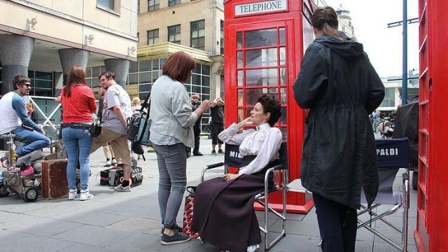 Michelle Gomez, between scenes whilst on location in Cardiff.