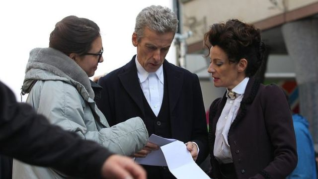 Ingrid Oliver, Peter Capaldi and Michelle Gomez on location.
