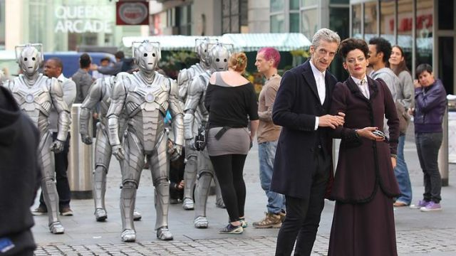 Peter Capladi and Michelle Gomez on location.