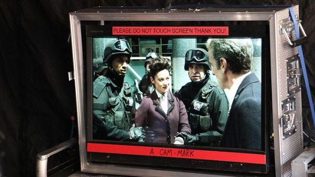 Michelle Gomez and Peter Capaldi shoot a scene.