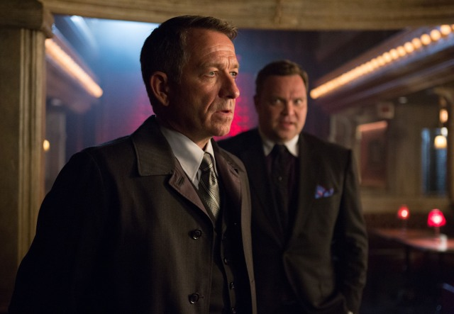 "GOTHAM: Alfred (Sean Pertwee, L) pays a visit to Fish Mooney and Butch Gilzean (guest star Drew Powell, R) in the ""Lovecraft"" episode of GOTHAM airing Monday, Nov. 24 (8:00-9:00 PM ET/PT) on FOX. ©2014 Fox Broadcasting Co. Cr: Jessica Miglio/FOX"