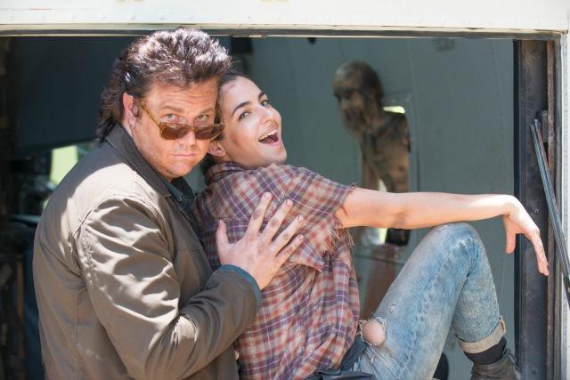 Josh McDermitt as Dr. Eugene Porter and Alanna Masterson as Tara Chambler - The Walking Dead _ Season 5, Episode 5 _ BTS - Photo Credit: Gene Page/AMC
