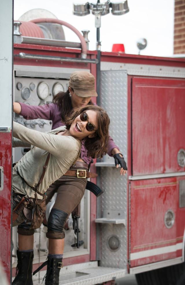 Lauren Cohan as Maggie Greene and Christian Serratos as Rosita Espinosa - The Walking Dead _ Season 5, Episode 5 _ BTS - Photo Credit: Gene Page/AMC