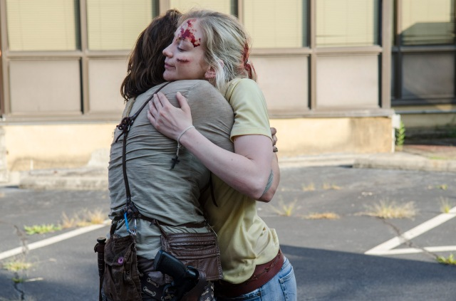 Lauren Cohan and Emily Kinney - The Walking Dead _ Season 5, Episode 8 _ BTS - Photo Credit: Gene Page/AMC