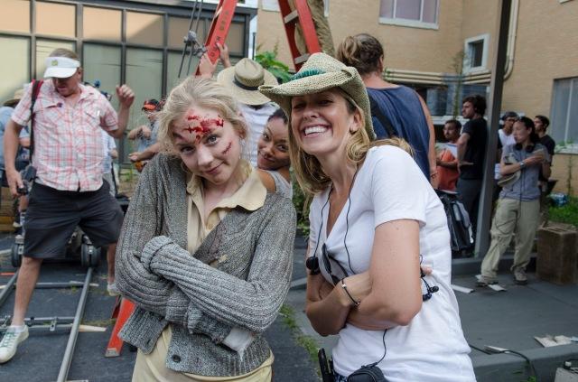 Emily Kinney, Sonequa Martin-Green and Denise Huth - The Walking Dead _ Season 5, Episode 8 _ BTS - Photo Credit: Gene Page/AMC