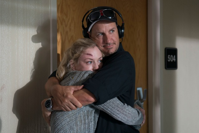 Emily Kinney and Michael Satrazemis Director of Photography- The Walking Dead _ Season 5, Episode 8 _ BTS - Photo Credit: Gene Page/AMC