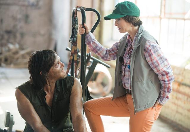 Norman Reedus and Gale Ann Hurd - The Walking Dead _ Season 5, Episode 8 _ BTS - Photo Credit: Gene Page/AMC