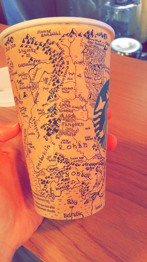 Middle Earth map on Starbucks cup