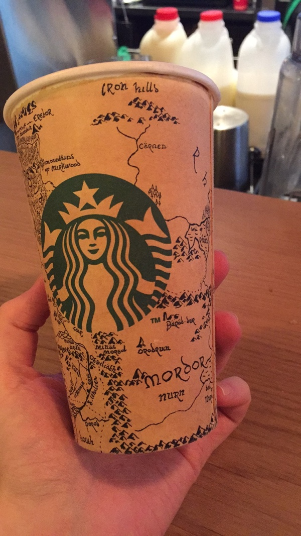 Middle Earth map on Starbucks cup3