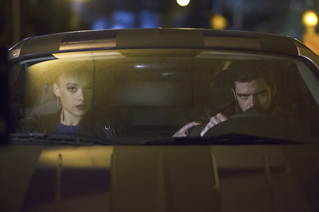 """The Flash -- """"Crazy for You"""" -- Image FLA112B_0034b -- Pictured (L-R): Britne Oldford as Shawna Benz and Micah Parker as Clay Parker-- Photo: Katie Yu/The CW -- © 2015 The CW Network, LLC. All rights reserved."""