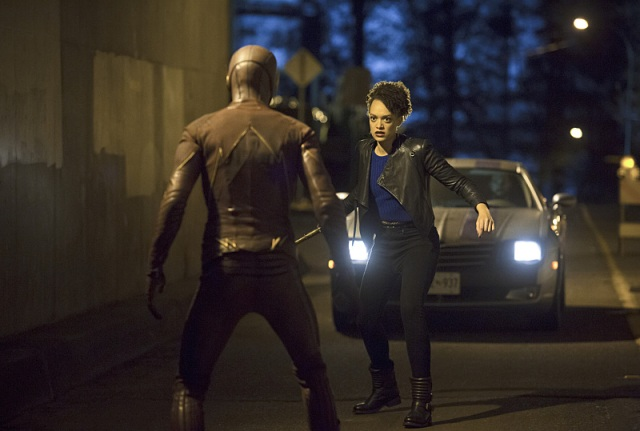"""The Flash -- """"Crazy for You"""" -- Image FLA112B_0093b -- Pictured (L-R): Grant Gustin as The Flash and Britne Oldford as Shawna Benz -- Photo: Katie Yu/The CW -- © 2015 The CW Network, LLC. All rights reserved."""