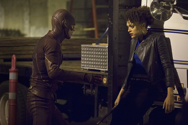"""The Flash -- """"Crazy for You"""" -- Image FLA112B_0225b -- Pictured (L-R): Grant Gustin as The Flash and Britne Oldford as Shawna Benz -- Photo: Katie Yu/The CW -- © 2015 The CW Network, LLC. All rights reserved."""