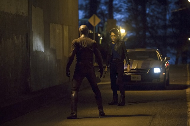 """The Flash -- """"Crazy for You"""" -- Image FLA112B_0001b -- Pictured (L-R): Grant Gustin as The Flash and Britne Oldford as Shawna Benz -- Photo: Katie Yu/The CW -- © 2015 The CW Network, LLC. All rights reserved."""