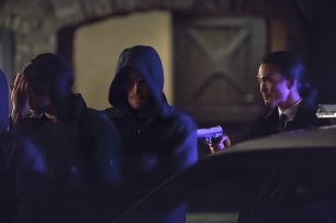"""Arrow -- """"The Return"""" -- Image AR314A_0320b -- Pictured (L-R): Stephen Amell as Oliver Queen / The Arrow and Karl Yune as Maseo -- Photo: Michael Courtney/The CW -- © 2015 The CW Network, LLC. All Rights Reserved."""