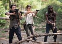 Steven Yeun as Glenn Rhee, Lauren Cohan as Maggie Greene and Danai Gurira as Michonne - The Walking Dead _ Season 5, Episode 11 - Photo Credit: Gene Page/AMC