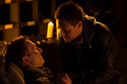 Jordan Woods-Robinson as Eric and Ross Marquand as Aaron - The Walking Dead _ Season 5, Episode 11 - Photo Credit: Gene Page/AMC