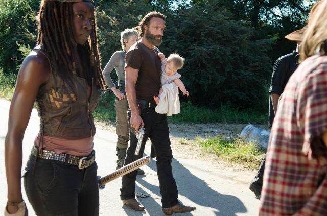 Danai Gurira as Michonne, Melissa McBride as Carol Peletier and Andrew Lincoln as Rick Grimes - The Walking Dead _ Season 5, Episode 12 - Photo Credit: Gene Page/AMC