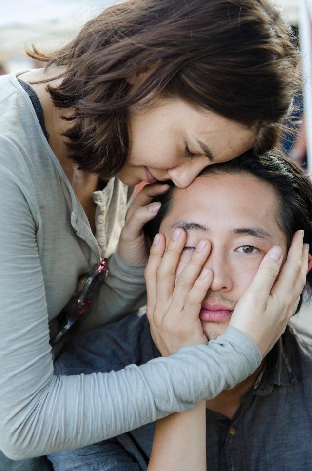 Lauren Cohan and Steven Yeun - The Walking Dead _ Season 5, Episode 12 _ BTS - Photo Credit: Gene Page/AMC