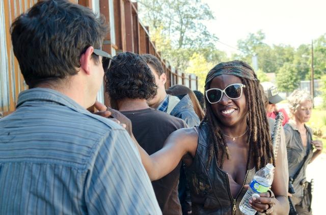 Danai Gurira - The Walking Dead _ Season 5, Episode 12 _ BTS - Photo Credit: Gene Page/AMC