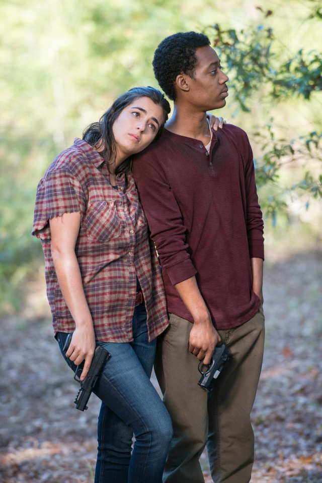 Alanna Masterson and Tyler James Williams - The Walking Dead _ Season 5, Episode 12 _ BTS - Photo Credit: Gene Page/AMC