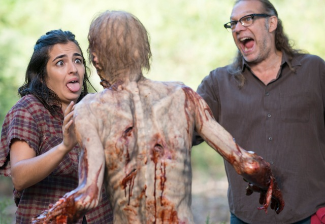 Alanna Masterson and Greg Nicotero - The Walking Dead _ Season 5, Episode 12 _ BTS - Photo Credit: Gene Page/AMC