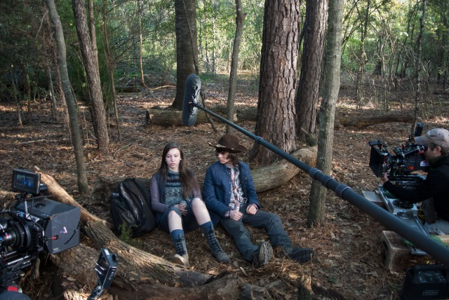 Katelyn Nacon and Chandler Riggs - The Walking Dead _ Season 5, Episode 15 _ BTS - Photo Credit: Gene Page/AMC