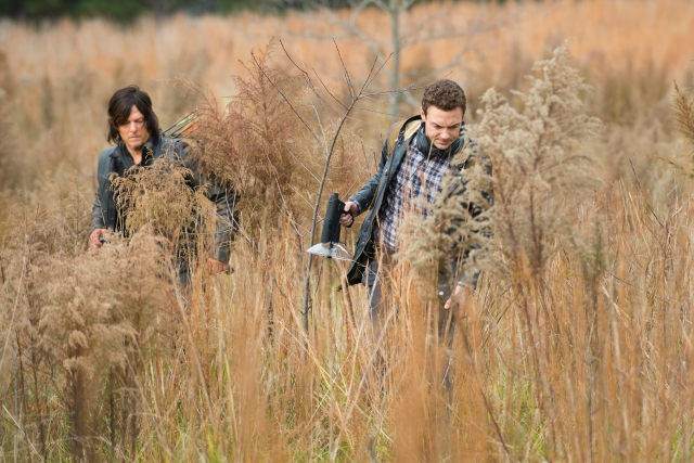 Norman Reedus as Daryl Dixon and Ross Marquand as Aaron - The Walking Dead _ Season 5, Episode 16  - Photo Credit: Gene Page/AMC