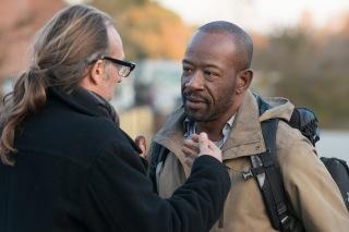 Greg Nicotero and Lennie James - The Walking Dead _ Season 5, Episode 16 _ BTS - Photo Credit: Gene Page/AMC