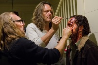 Greg Nicotero and Andrew Lincoln as Rick Grimes - The Walking Dead _ Season 5, Episode 16 _ BTS - Photo Credit: Gene Page/AMC