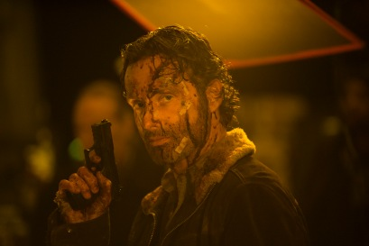 Andrew Lincoln as Rick Grimes - The Walking Dead _ Season 5, Episode 16 _ BTS - Photo Credit: Gene Page/AMC