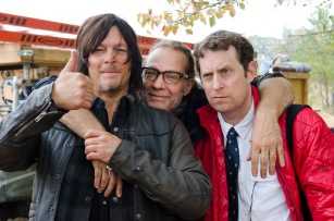 Norman Reedus, Greg Nicotero and Scott Gimple - The Walking Dead _ Season 5, Episode 16 _ BTS - Photo Credit: Gene Page/AMC