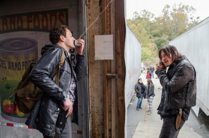 Ross Marquand and Norman Reedus - The Walking Dead _ Season 5, Episode 16 _ BTS - Photo Credit: Gene Page/AMC