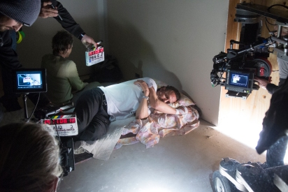 Melissa McBride as Carol Peletier and Andrew Lincoln as Rick Grimes - The Walking Dead _ Season 5, Episode 16 _ BTS - Photo Credit: Gene Page/AMC