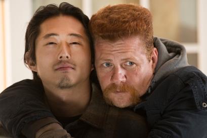 Steven Yeun and Michael Cudlitz - The Walking Dead _ Season 5, Episode 16 _ BTS - Photo Credit: Gene Page/AMC