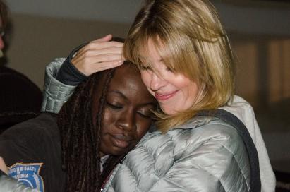 Danai Gurira and Denise Huth - The Walking Dead _ Season 5, Episode 16 _ BTS - Photo Credit: Gene Page/AMC